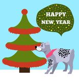 Happy New Years Placard with Tree and Puppy Icons. Happy New Years placard with tree made up of red tinsel placed on its borders, celebration symbol of Chinese Stock Image