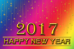 2017 Happy New Years Rainbow Background. 2017 happy new years on a rainbow background of fall stars Royalty Free Stock Photography