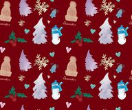Happy New Years seamless pattern, watercolor. Happy New Years seamless pattern, Christmas theme watercolor background royalty free illustration