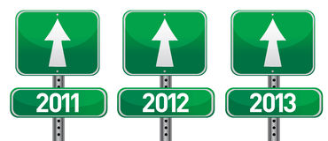 Happy new years street signs. Illustration design stock illustration