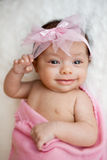 Happy newborn baby girl portrait Royalty Free Stock Photos