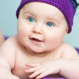 Close-up newborn girl Stock Photo
