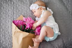 Newborn baby explore the world and playing with flowers bouquet Stock Image