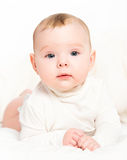 Happy newborn baby on white background stock photo