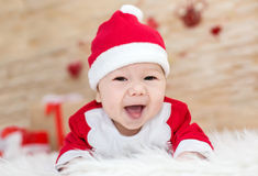 Happy newborn Santa Stock Photography
