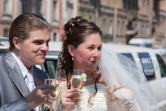 Happy newly-married couple Royalty Free Stock Photos