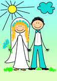 Happy newly married couple!!! royalty free illustration