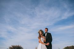 Happy newly married couple royalty free stock photos