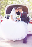 Happy newly-married couple in car,tinted Stock Photography