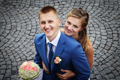 Happy newly married couple smiling Portrait close-up view from a Royalty Free Stock Photo
