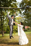 Happy newlywed couple Stock Images
