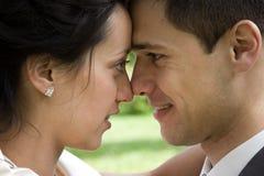 Happy newlywed couple stock images