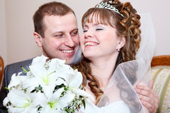 Happy newlywed couple Royalty Free Stock Photography