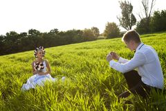 Happy newlywed couple Stock Photography
