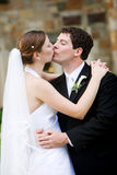 Happy newlywed couple kissing Stock Images