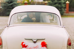 Happy newlywed couple kissing on a backseat of retro car, rear view Stock Photo