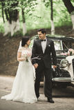 Happy newlywed couple, man and wife kissing near stylish retro car Royalty Free Stock Images