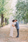 Happy newlywed couple posing outdoors and kissing on park lane holding hands together Royalty Free Stock Photography