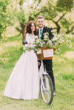 Happy newlywed couple posing in park with bicycle after their wedding Royalty Free Stock Image