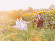 Happy newlywed couple at their wedding day in the sunflower field on sunset. Stock Photography