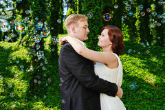 Happy newlywed couple wedding day. Groom and bride. Stock Photo