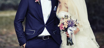 Happy newlywed young caucasian couple Stock Photo