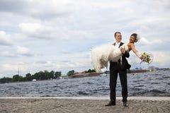 Happy newlyweds stock images