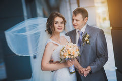 Happy newlyweds against a blue modern building Royalty Free Stock Image