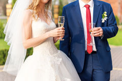 Happy newlyweds couple drink white wedding champagne wine. Hands of bride and groom with golden rings on fingers toast. With alcohol drinks. New family, husband Stock Image