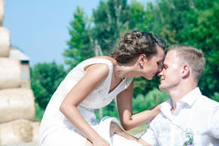 Happy newlyweds couple. Happy newlyweds touch each other Royalty Free Stock Photography