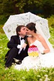 Happy newlyweds on grass in park Royalty Free Stock Photos