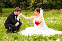 Happy newlyweds on grass in park Royalty Free Stock Image