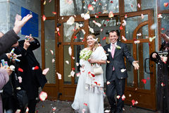 Happy newlyweds with guests and flying petals Royalty Free Stock Photos