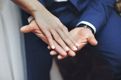 Happy newlyweds holding hands closeup Stock Photos
