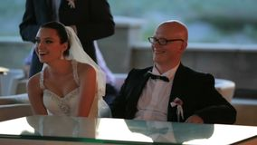 Happy Newlyweds Laughing stock video footage