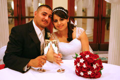 Happy Newlyweds in Love. Bride and Groom Toasting To Their New Life Together Royalty Free Stock Photo