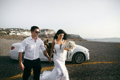 Happy newlyweds near the car Royalty Free Stock Images