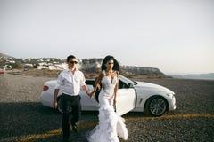 Happy newlyweds near the car Royalty Free Stock Image