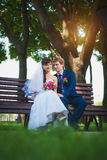 Happy newlyweds are sitting on the bench Royalty Free Stock Image