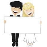 Happy newlyweds smiling Royalty Free Stock Image