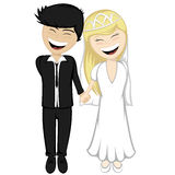 Happy newlyweds smiling Royalty Free Stock Photos