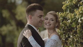 Happy newlyweds standing in the greenery stock video footage
