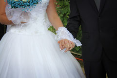 Happy newlyweds touching Royalty Free Stock Images