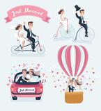 Happy Newlyweds On The Wedding Party Set Of Scenes. Vector funny cartoon illustration of Happy Newlyweds Scenes. Wedding couple ride retro bicycle, tandem bike Stock Photo