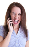Happy news on phone Royalty Free Stock Photo