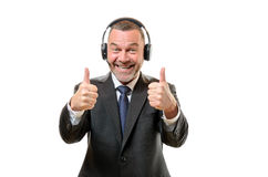 Happy newscaster with two thumbs up and big smile Royalty Free Stock Images