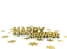 Happy newyear gold illustration. Happy new year gold illustration on white Royalty Free Stock Photos