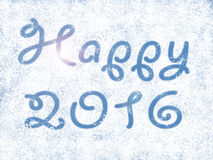 Happy newyear with 2016 in snow Royalty Free Stock Photography