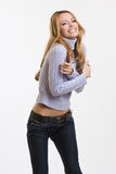 Happy nice blonde woman smiling Stock Image