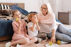 Happy nice grandmother looking at her grandchildren Royalty Free Stock Photography